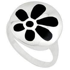 Black onyx enamel 925 sterling silver ring jewelry size 8 c12921