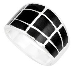 5.25gms black onyx enamel 925 sterling silver ring jewelry size 8 c12936