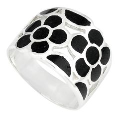 Black onyx enamel 925 sterling silver ring jewelry size 9 c12922