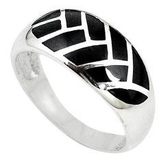 Black onyx enamel 925 sterling silver ring jewelry size 9 c12930
