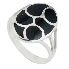 Black onyx enamel 925 sterling silver ring jewelry size 9 c12940