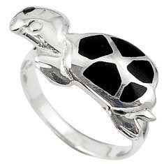 Black onyx enamel 925 sterling silver tortoise ring jewelry size 6 c11926