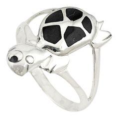Black onyx enamel 925 sterling silver tortoise ring jewelry size 9 c11933