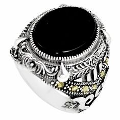 Black onyx swiss marcasite 925 silver mens ring jewelry size 9 c11434