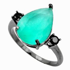 6.26cts black rhodium green chalcedony 925 silver ring size 8 c9017