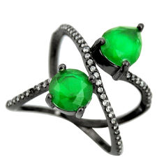 4.29cts black rhodium green emerald (lab) topaz 925 silver ring size 5.5 c9009