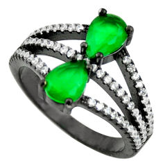 4.30cts black rhodium green emerald (lab) topaz 925 silver ring size 7 c9010