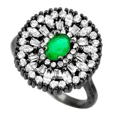 4.92cts black rhodium green emerald (lab) topaz 925 silver ring size 7 c9014