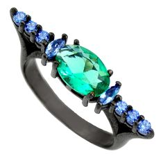 3.17cts black rhodium green emerald (lab) topaz 925 silver ring size 8 c9006