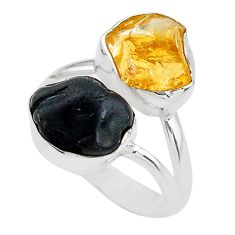 9.96cts black tourmaline rough citrine rough 925 silver ring size 7 t20971