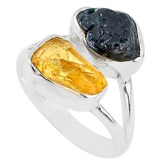 9.59cts black tourmaline rough citrine rough 925 silver ring size 7 t20978
