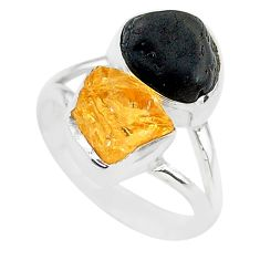 10.02cts black tourmaline rough citrine rough 925 silver ring size 7 t20980
