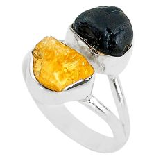 10.78cts black tourmaline rough citrine rough 925 silver ring size 8 t20973