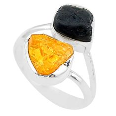 10.37cts black tourmaline rough citrine rough 925 silver ring size 8 t20975