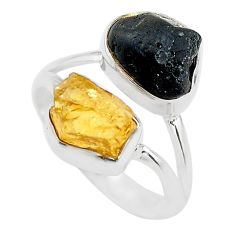 10.78cts black tourmaline rough citrine rough 925 silver ring size 9 t20972