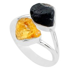 9.96cts black tourmaline rough citrine rough 925 silver ring size 9 t20976