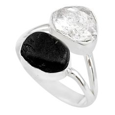 8.32cts black tourmaline raw herkimer diamond 925 silver ring size 7 t21035