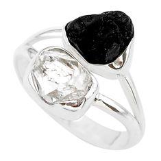9.59cts black tourmaline raw herkimer diamond 925 silver ring size 8 t21025