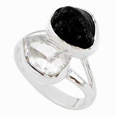 10.31cts black tourmaline raw herkimer diamond 925 silver ring size 8 t21027