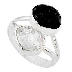 9.90cts black tourmaline raw herkimer diamond 925 silver ring size 8 t21037