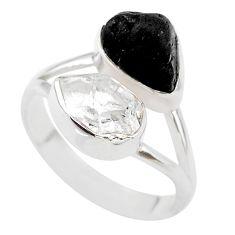 10.37cts black tourmaline raw herkimer diamond silver ring size 9 t21036