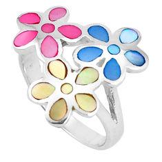 5.69gms blister blister pearl enamel 925 silver flower ring size 8 a95633 c13157