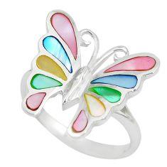 4.89gms blister pearl enamel 925 silver butterfly ring size 8 a88708 c13289