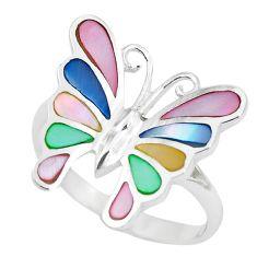 5.02gms blister pearl enamel 925 silver butterfly ring size 9 a88707 c13281