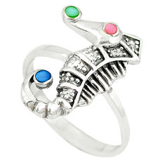 Blister pearl enamel 925 silver seahorse ring jewelry size 7.5 a49474 c13495