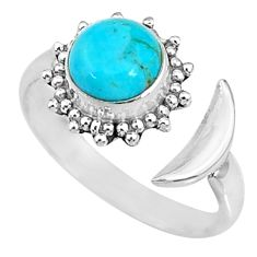 2.61cts blue arizona mohave turquoise 925 silver adjustable ring size 8 r74622
