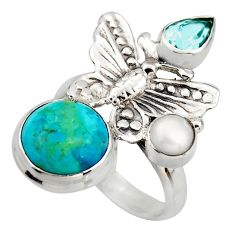7.22cts blue arizona mohave turquoise 925 silver butterfly ring size 8 d46092