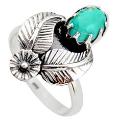 2.23cts blue arizona mohave turquoise 925 silver flower ring size 8 d46093