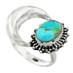 3.26cts blue arizona mohave turquoise 925 silver half moon ring size 6.5 r41762