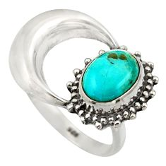 3.32cts blue arizona mohave turquoise 925 silver half moon ring size 8 r41761