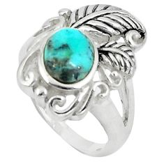 2.81cts blue arizona mohave turquoise 925 silver solitaire ring size 5.5 c10649
