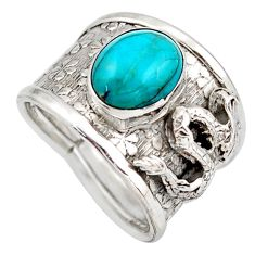 4.13cts blue arizona mohave turquoise 925 silver solitaire ring size 6.5 d45938