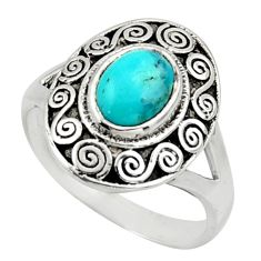 2.02cts blue arizona mohave turquoise 925 silver solitaire ring size 7.5 r40922