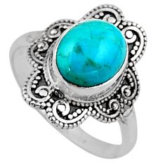4.03cts blue arizona mohave turquoise 925 silver solitaire ring size 8.5 r54491