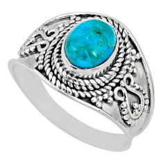 2.56cts blue arizona mohave turquoise 925 silver solitaire ring size 7.5 r58657