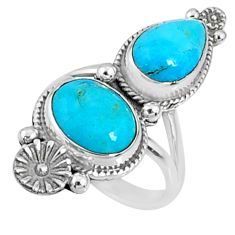 6.58cts blue arizona mohave turquoise 925 silver solitaire ring size 5.5 r67312