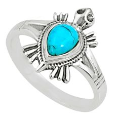 1.60cts blue arizona mohave turquoise 925 silver solitaire ring size 7.5 r68783