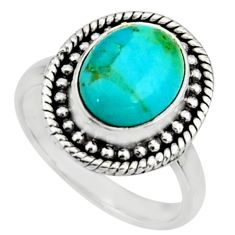 4.74cts blue arizona mohave turquoise 925 silver solitaire ring size 6 r26605