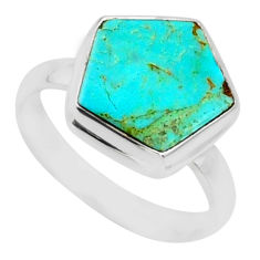 5.12cts blue arizona mohave turquoise 925 silver solitaire ring size 6 r80120