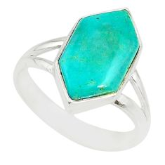 4.91cts blue arizona mohave turquoise 925 silver solitaire ring size 6 r80226