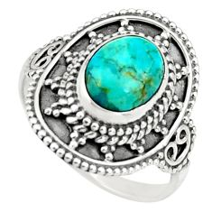 2.71cts blue arizona mohave turquoise 925 silver solitaire ring size 7 r26771