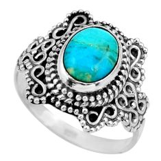 3.11cts blue arizona mohave turquoise 925 silver solitaire ring size 7 r26991