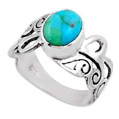 3.35cts blue arizona mohave turquoise 925 silver solitaire ring size 7 r54690