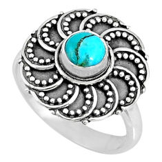 0.85cts blue arizona mohave turquoise 925 silver solitaire ring size 7 r57886