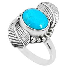 4.02cts blue arizona mohave turquoise 925 silver solitaire ring size 8 r67314