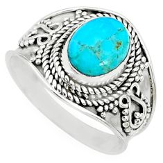 3.13cts blue arizona mohave turquoise 925 silver solitaire ring size 8 r74721